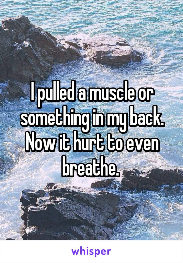 I pulled a muscle or something in my back. Now it hurt to even breathe.