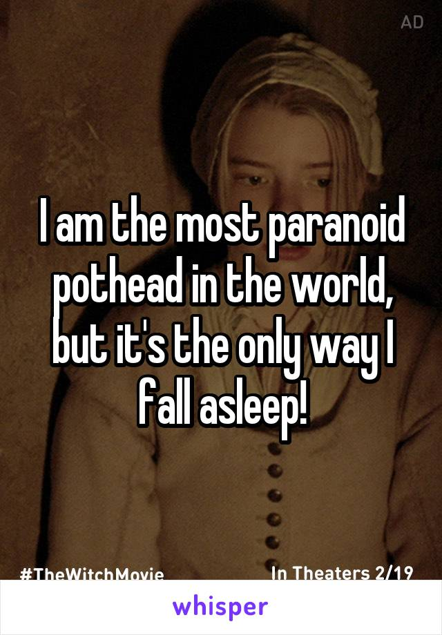 I am the most paranoid pothead in the world, but it's the only way I fall asleep!