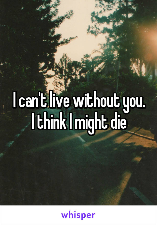 I can't live without you. I think I might die