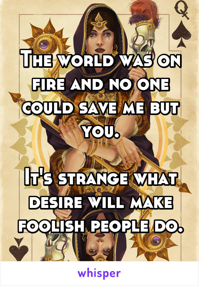 The world was on fire and no one could save me but you.  It's strange what desire will make foolish people do.