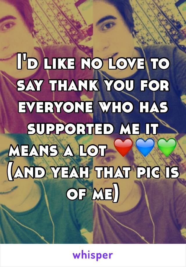 I'd like no love to say thank you for everyone who has supported me it means a lot ❤️💙💚 (and yeah that pic is of me)