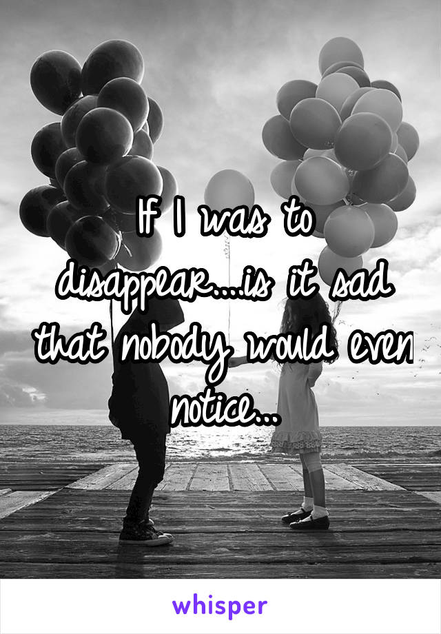 If I was to disappear....is it sad that nobody would even notice...