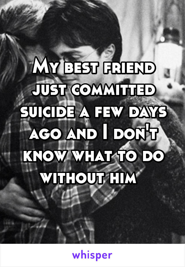 My best friend just committed suicide a few days ago and I don't know what to do without him