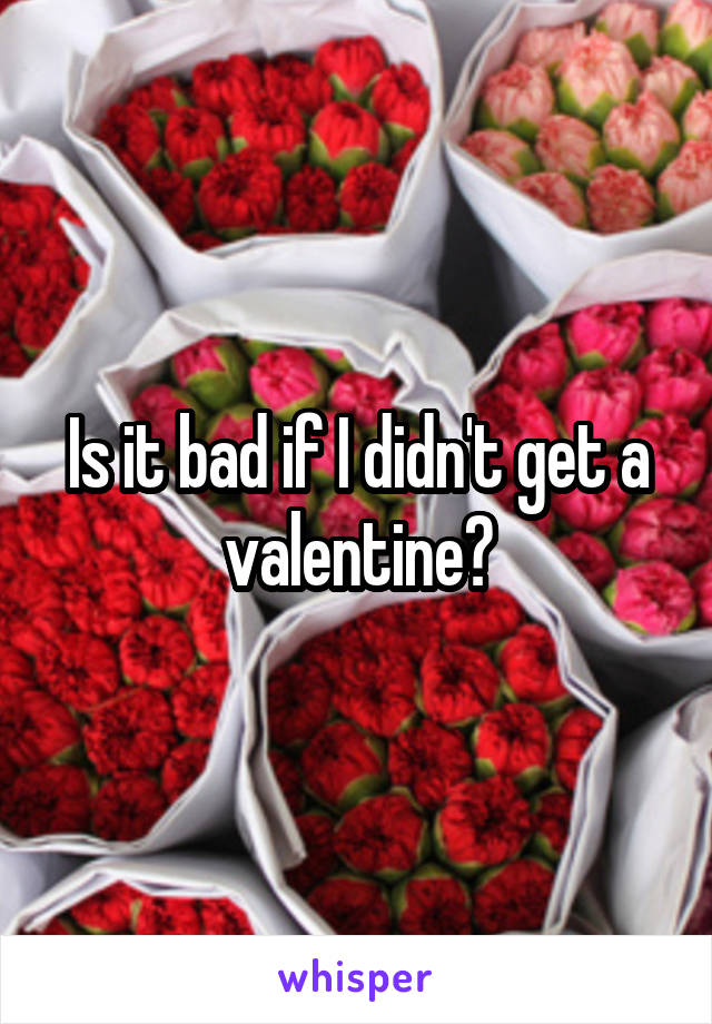 Is it bad if I didn't get a valentine?