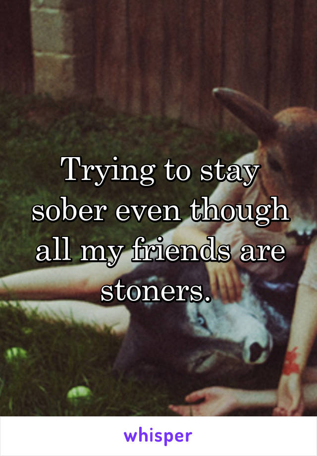 Trying to stay sober even though all my friends are stoners.