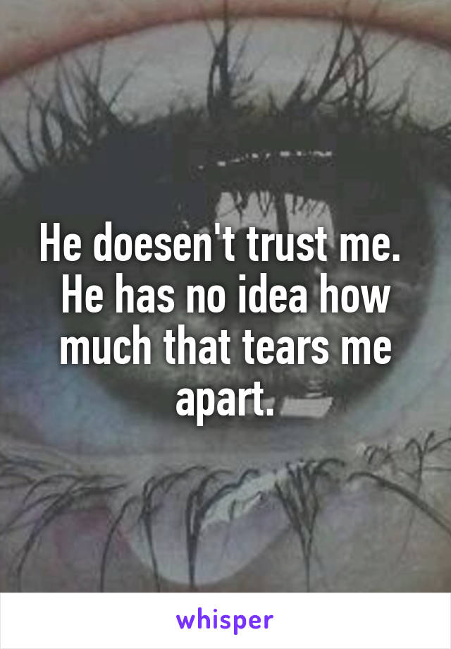 He doesen't trust me.  He has no idea how much that tears me apart.