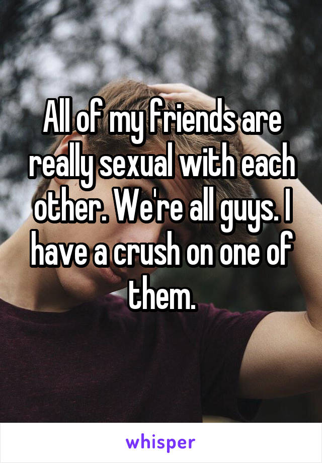All of my friends are really sexual with each other. We're all guys. I have a crush on one of them.