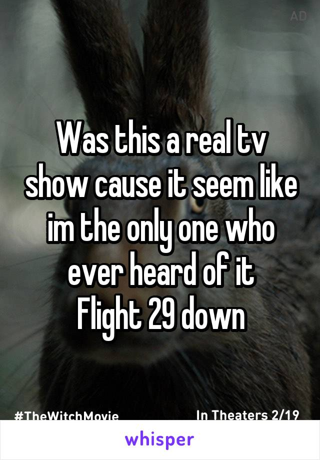 Was this a real tv show cause it seem like im the only one who ever heard of it Flight 29 down