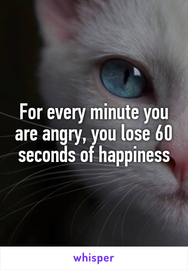 For every minute you are angry, you lose 60 seconds of happiness