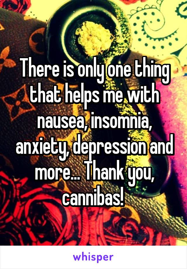 There is only one thing that helps me with nausea, insomnia, anxiety, depression and more... Thank you, cannibas!
