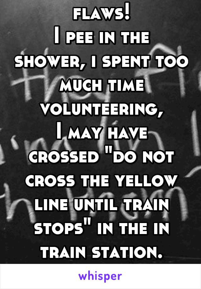 """Guess what i have flaws! I pee in the shower, i spent too much time volunteering, I may have crossed """"do not cross the yellow line until train stops"""" in the in train station. So sue me!"""