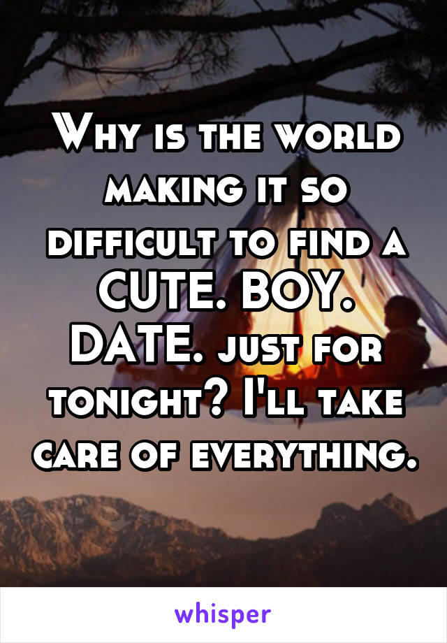 Why is the world making it so difficult to find a CUTE. BOY. DATE. just for tonight? I'll take care of everything.