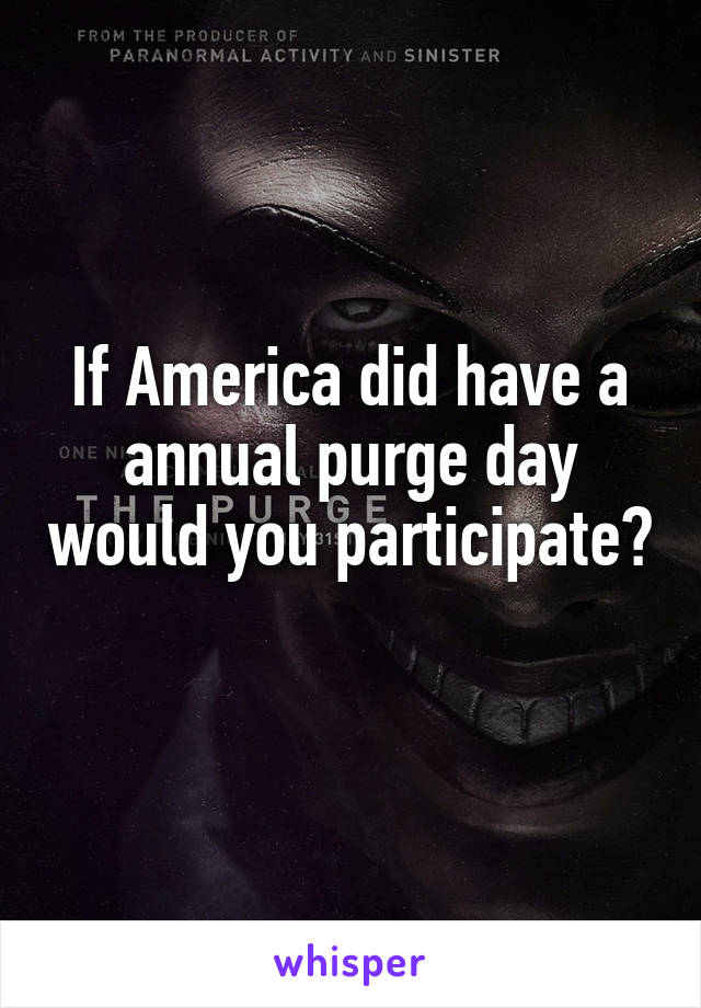 If America did have a annual purge day would you participate?
