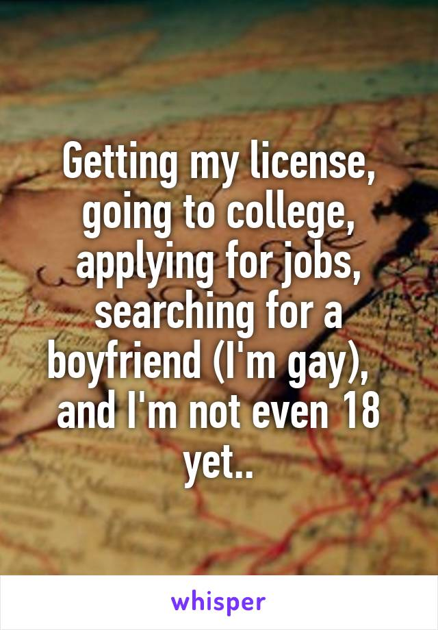 Getting my license, going to college, applying for jobs, searching for a boyfriend (I'm gay),   and I'm not even 18 yet..