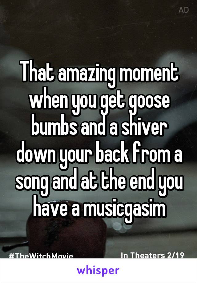 That amazing moment when you get goose bumbs and a shiver down your back from a song and at the end you have a musicgasim