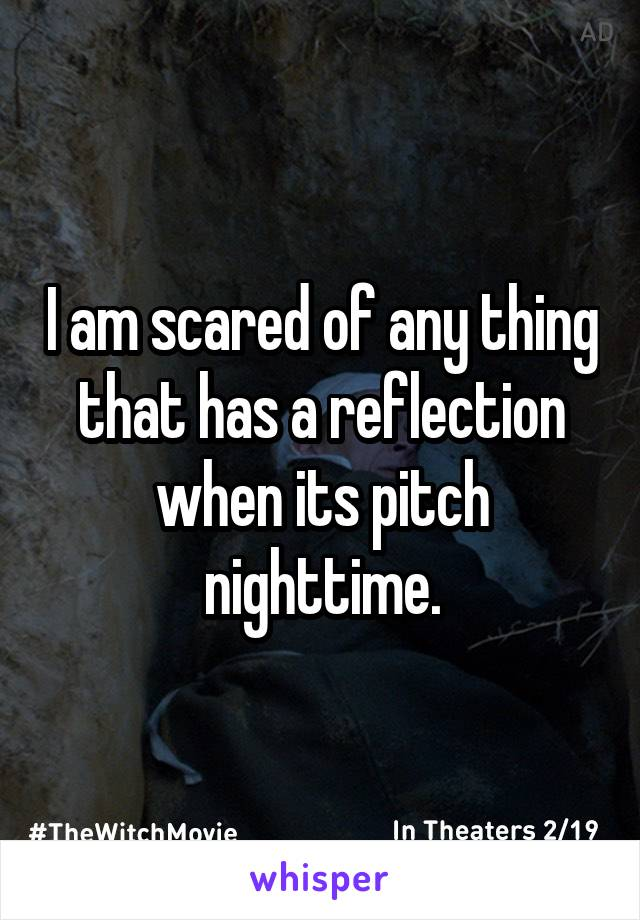I am scared of any thing that has a reflection when its pitch nighttime.