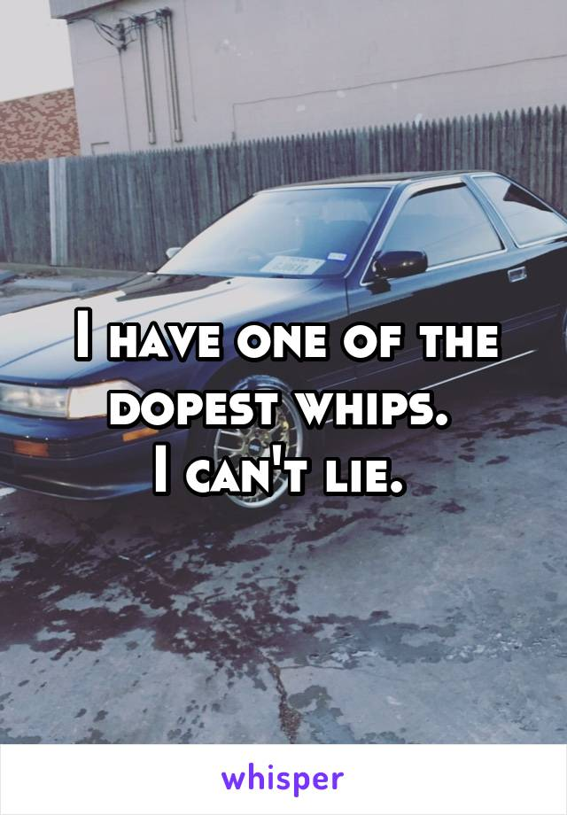 I have one of the dopest whips.  I can't lie.