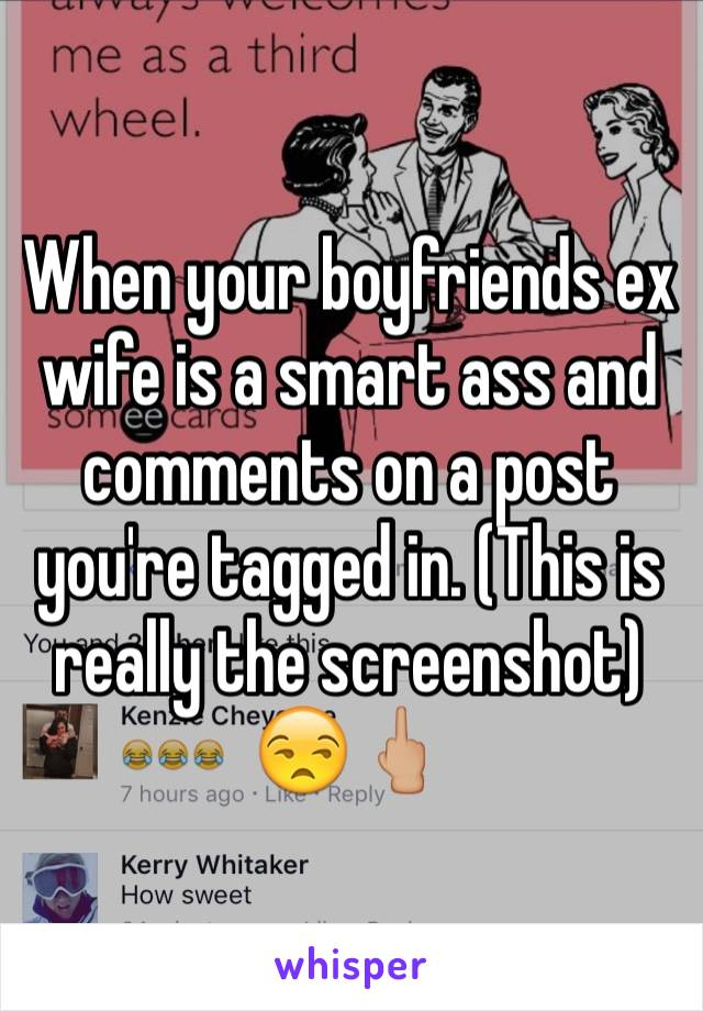 When your boyfriends ex wife is a smart ass and comments on a post you're tagged in. (This is really the screenshot) 😒🖕🏼