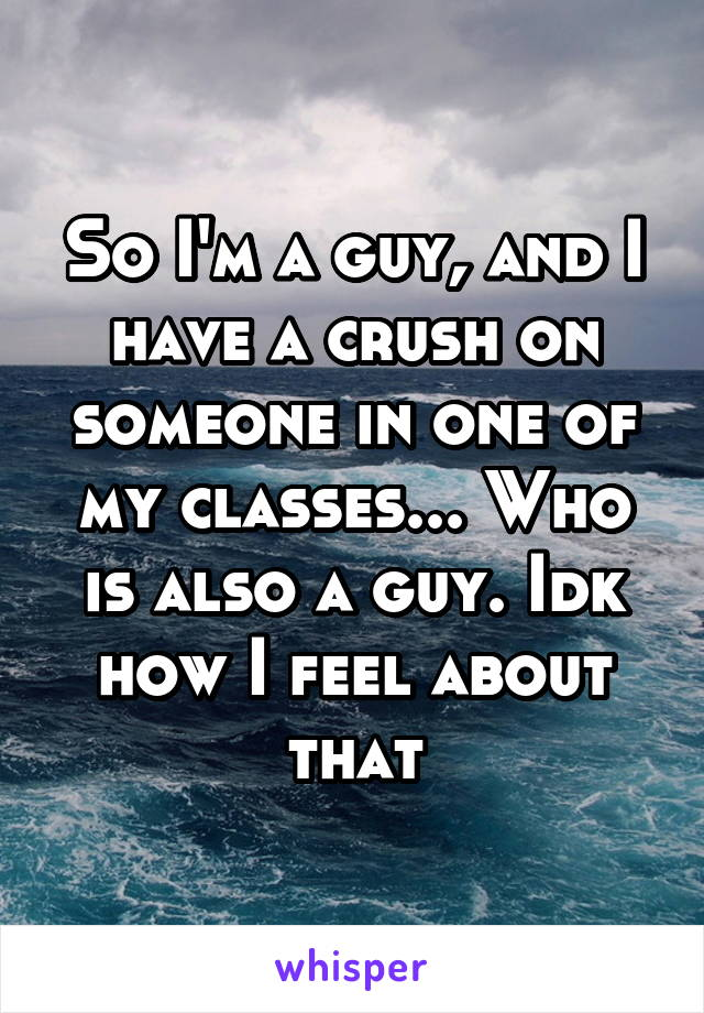 So I'm a guy, and I have a crush on someone in one of my classes... Who is also a guy. Idk how I feel about that