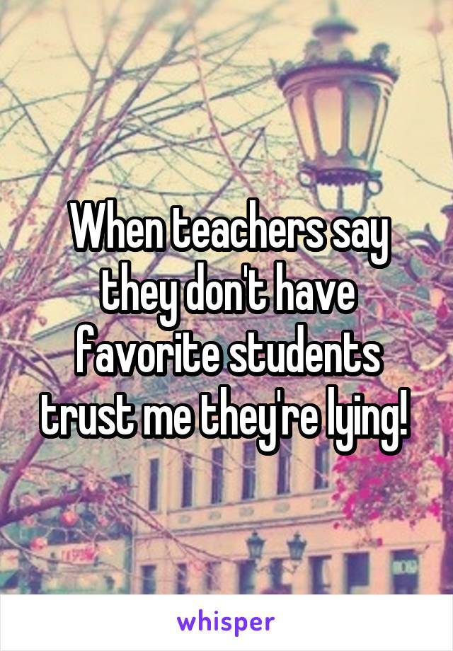 When teachers say they don't have favorite students trust me they're lying!