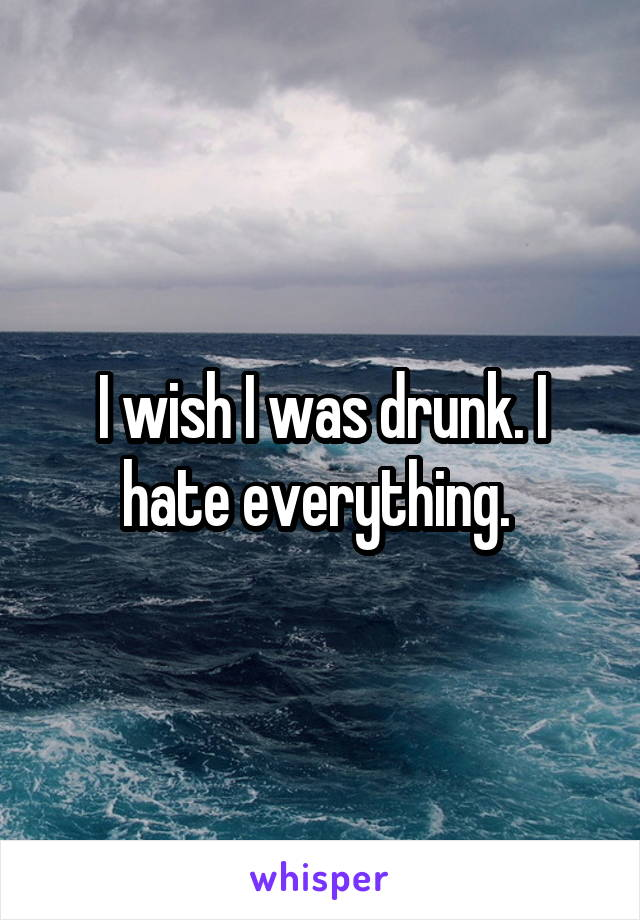 I wish I was drunk. I hate everything.