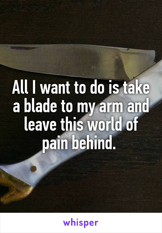 All I want to do is take a blade to my arm and leave this world of pain behind.