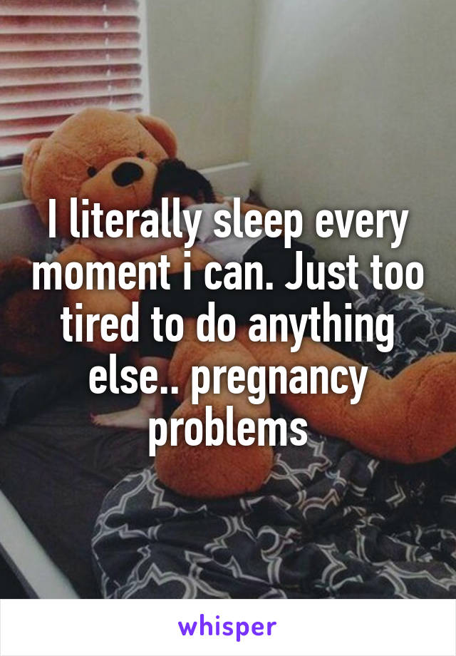 I literally sleep every moment i can. Just too tired to do anything else.. pregnancy problems