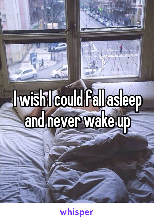 I wish I could fall asleep and never wake up