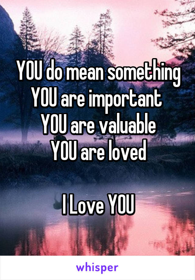 YOU do mean something YOU are important  YOU are valuable  YOU are loved   I Love YOU