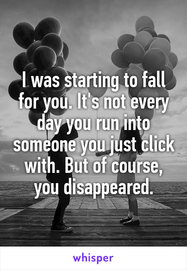 I was starting to fall for you. It's not every day you run into someone you just click with. But of course, you disappeared.
