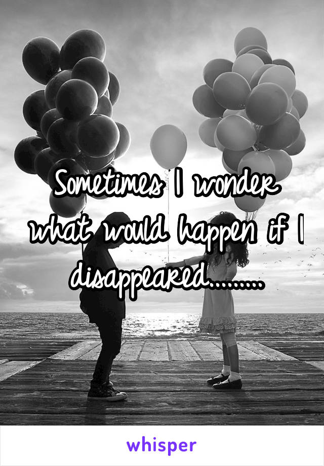 Sometimes I wonder what would happen if I disappeared.........
