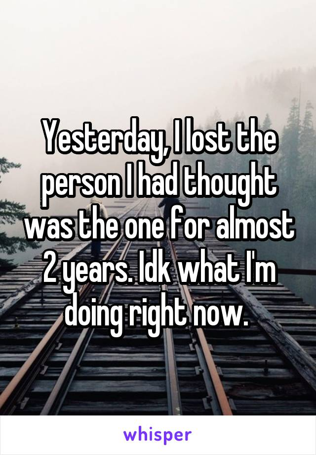 Yesterday, I lost the person I had thought was the one for almost 2 years. Idk what I'm doing right now.