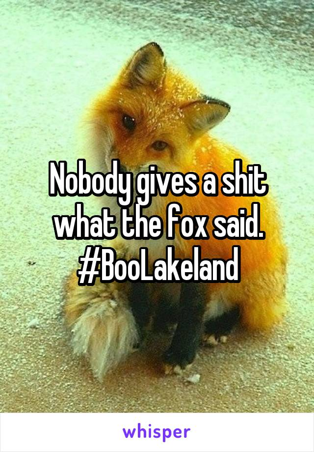 Nobody gives a shit what the fox said. #BooLakeland