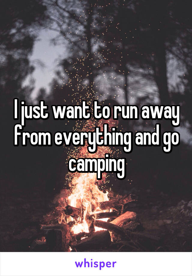 I just want to run away from everything and go camping