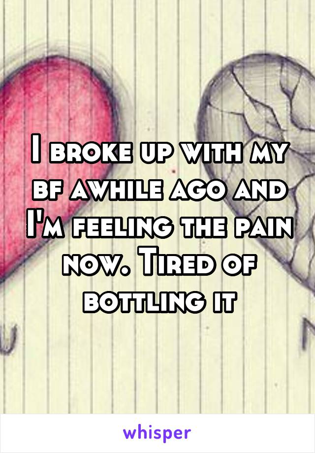 I broke up with my bf awhile ago and I'm feeling the pain now. Tired of bottling it