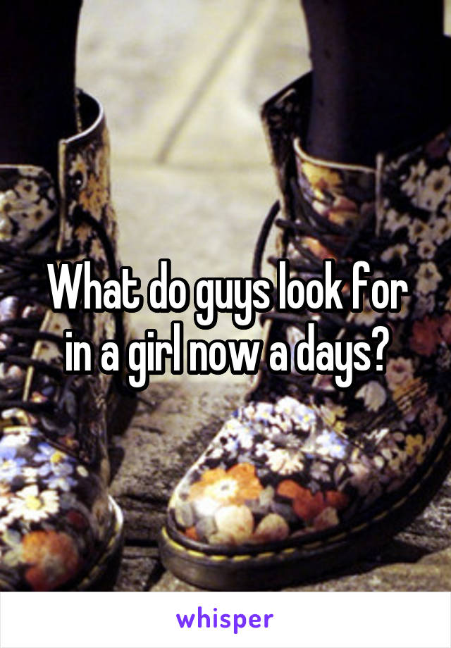 What do guys look for in a girl now a days?