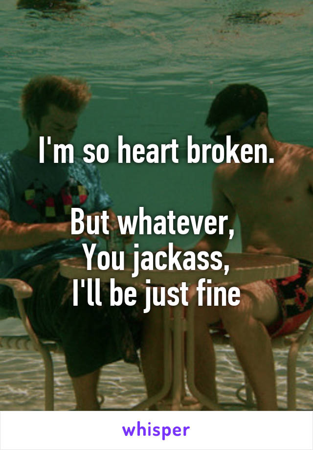 I'm so heart broken.  But whatever,  You jackass, I'll be just fine