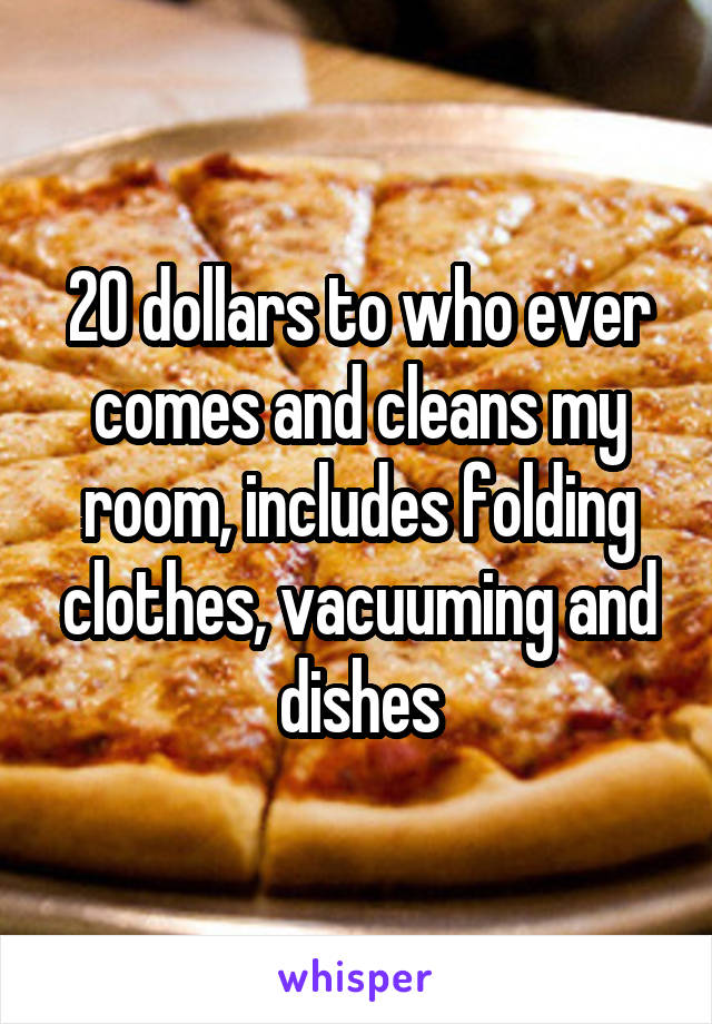 20 dollars to who ever comes and cleans my room, includes folding clothes, vacuuming and dishes