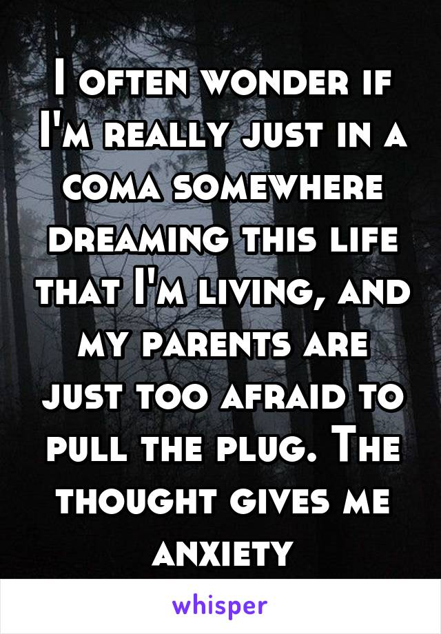 I often wonder if I'm really just in a coma somewhere dreaming this life that I'm living, and my parents are just too afraid to pull the plug. The thought gives me anxiety