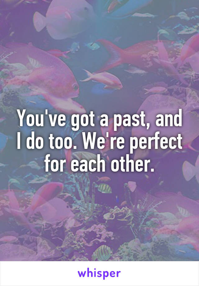 You've got a past, and I do too. We're perfect for each other.