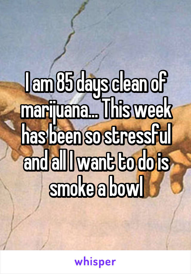 I am 85 days clean of marijuana... This week has been so stressful and all I want to do is smoke a bowl