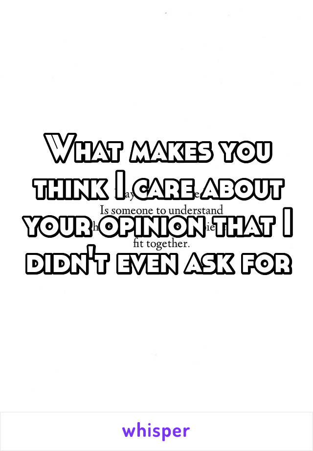 What makes you think I care about your opinion that I didn't even ask for