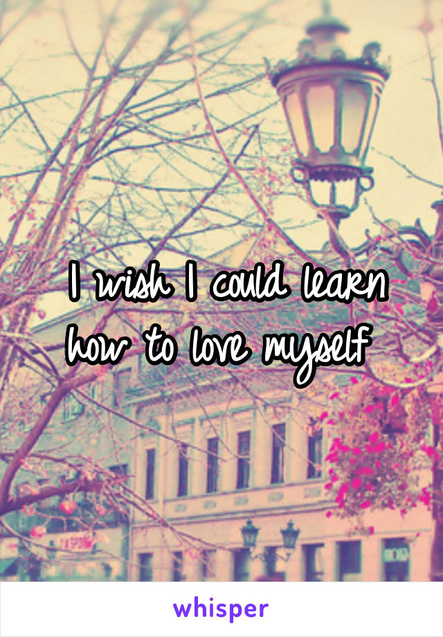 I wish I could learn how to love myself