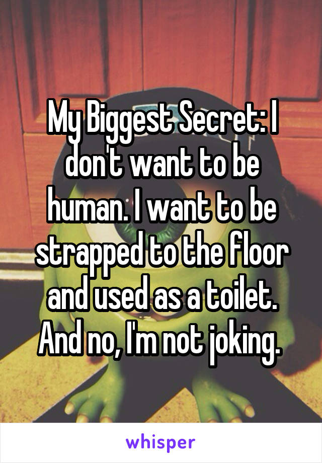 My Biggest Secret: I don't want to be human. I want to be strapped to the floor and used as a toilet. And no, I'm not joking.