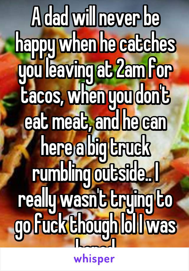 A dad will never be happy when he catches you leaving at 2am for tacos, when you don't eat meat, and he can here a big truck rumbling outside.. I really wasn't trying to go fuck though lol I was bored