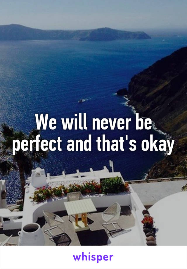We will never be perfect and that's okay