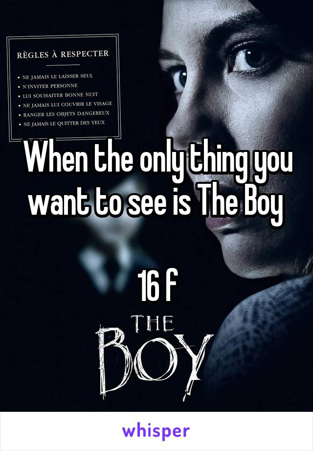 When the only thing you want to see is The Boy   16 f