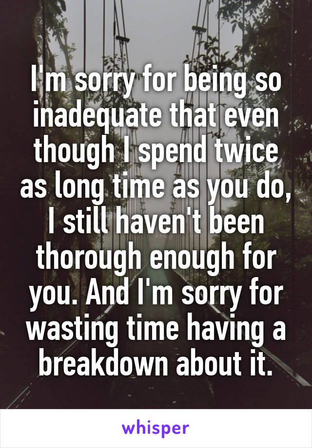 I'm sorry for being so inadequate that even though I spend twice as long time as you do, I still haven't been thorough enough for you. And I'm sorry for wasting time having a breakdown about it.