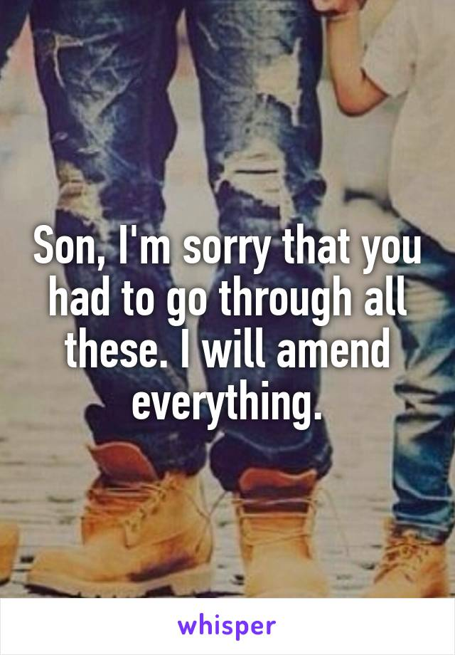 Son, I'm sorry that you had to go through all these. I will amend everything.