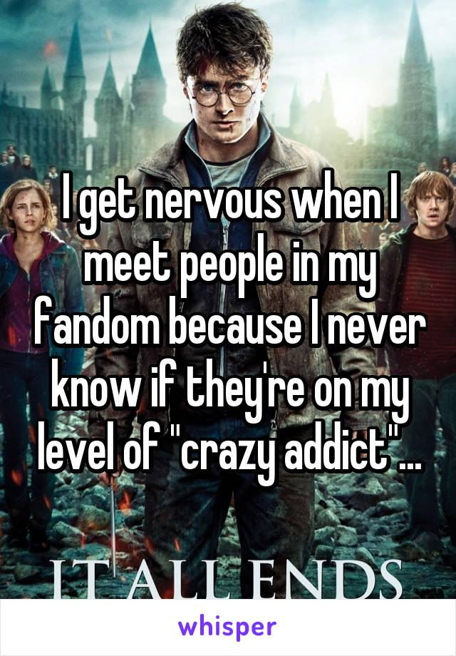 """I get nervous when I meet people in my fandom because I never know if they're on my level of """"crazy addict""""..."""